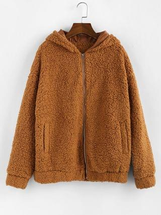 WOMEN Hooded Zip Up Pocket Fluffy Teddy Jacket - Light Brown Xl