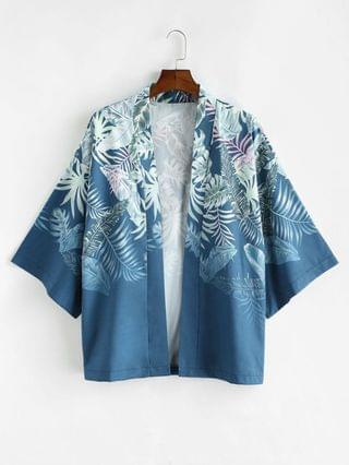MEN Tropical Plant Leaf Vacation Kimono Cardigan - Blueberry Blue Xl
