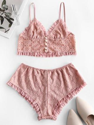 WOMEN Frilled Pearly Button Loop Lace Pajamas Suit - Rose M