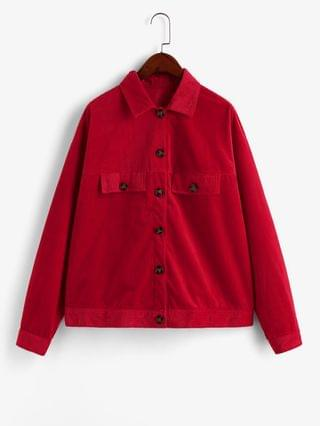 WOMEN Button Front Faux Pockets Corduroy Shirt Jacket - Red S