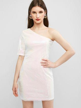 WOMEN One Shoulder Sparkly Sequined Party Dress - White Xl