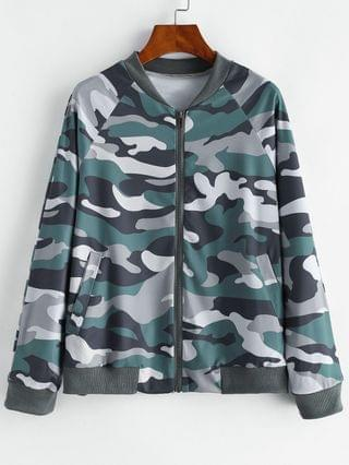 WOMEN Camo Zip Pocket Raglan Sleeve Jacket - Multi-a S