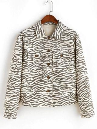 WOMEN Button Up Flap Pockets Zebra Print Shirt Jacket - Multi-a M