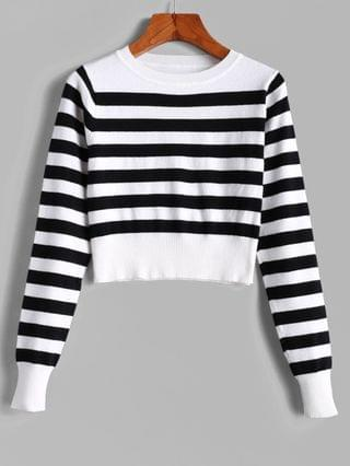 WOMEN Pullover Stripes Crew Neck Cropped Sweater - Multi M