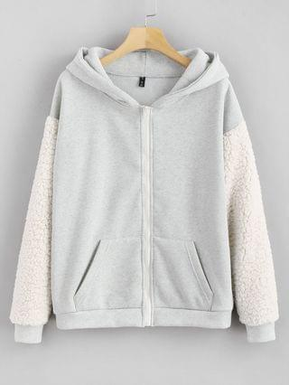 WOMEN Pockets Fluffy Zip Up Hoodie - Light Gray S