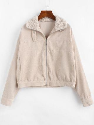 WOMEN Corduroy Zip Fluffy Collar Pocket Jacket - Warm White Xl