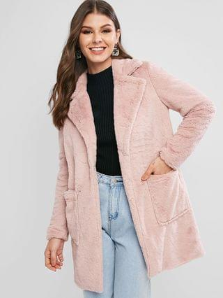 WOMEN Faux Fur Open Front Pocket Longline Coat - Pink Xl