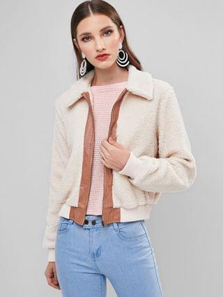 WOMEN Colorblock Zip Up Pocket Teddy Coat - Beige M
