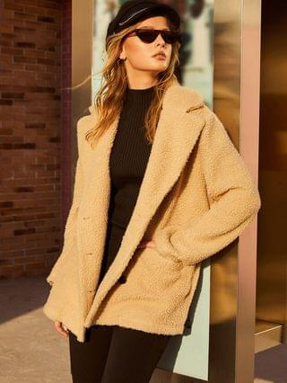 WOMEN Pocket Double Breasted Fluffy Teddy Coat - Apricot M