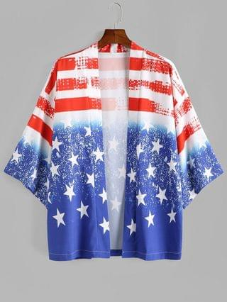 MEN Retro American Flag Print Vacation Kimono Cardigan - Ocean Blue 2xl
