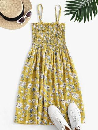 WOMEN Floral Smocked Frilled Cami Summer Dress - Yellow S