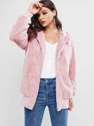 WOMEN Faux Fur Hooded Zip Pocket Tunic Coat - Pink L