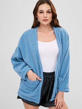 WOMEN Open Front Pockets Fluffy Coat - Baby Blue L