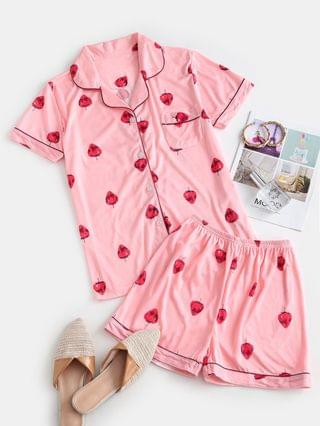 WOMEN Front Pocket Strawberry Two Piece Pajama Set - Light Pink 2xl