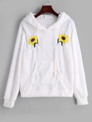WOMEN Flower Embroidered Front Pocket Fluffy Hoodie - White S