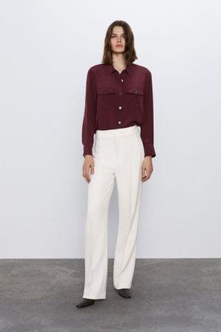 WOMEN SILK BLOUSE WITH POCKETS
