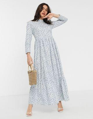 WOMEN cotton poplin tiered maxi dress in ditsy floral print