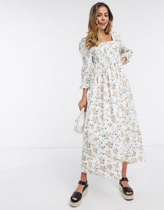 WOMEN shirred cotton maxi dress in ditsy floral