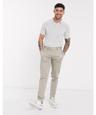 Selected Homme knitted polo in gray