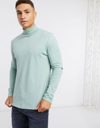 MEN long sleeve roll neck t-shirt in green