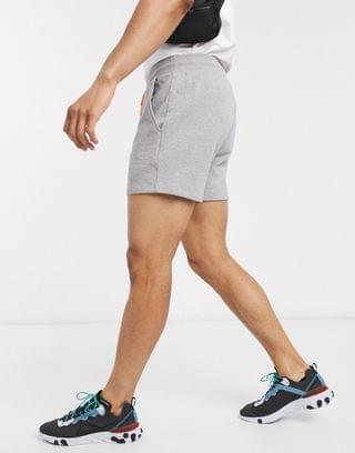 jersey slim shorts in gray marl with neon orange drawcords