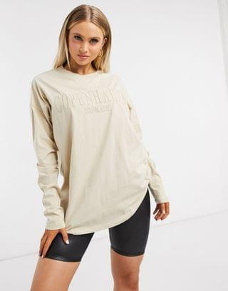 WOMEN oversized t-shirt with tonal Copenhagen city embroidery in long sleeve