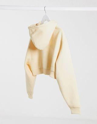 WOMEN COLLUSION plus exclusive cropped zip through hoodie in camel