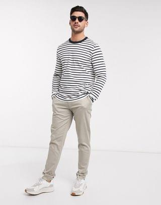 Selected Homme navy striped long sleeve top