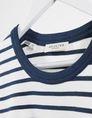 Selected Homme boxy fit t-shirt in navy and white stripe