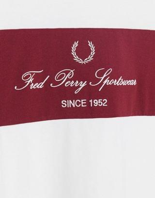 Fred Perry vintage logo t-shirt with contrast panel in white