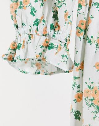 WOMEN Curve shirred cotton maxi dress in ditsy floral