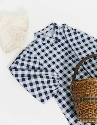 WOMEN Pieces smock shirt dress with puff sleeves in blue gingham check