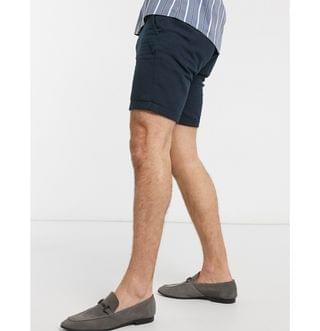 Selected Homme linen mix shorts in navy