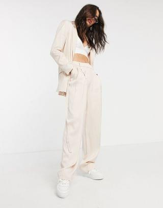 WOMEN Topshop striped wide leg tailored pants two-piece in blush pink