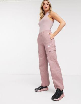 WOMEN Puma cargo wide leg trousers in rose exclusive to