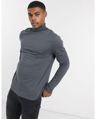 long sleeve roll neck t-shirt in washed black
