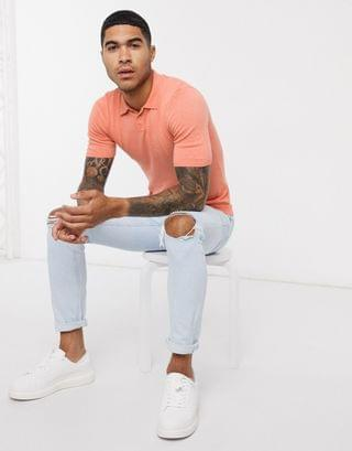 knitted muscle fit turtleneck t-shirt in salmon