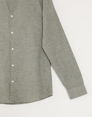 Selected Homme slim fit linen mix shirt with grandad collar in khaki