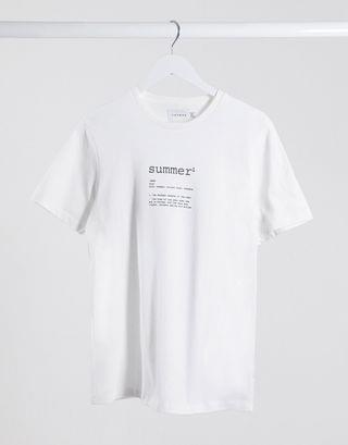 Topman t-shirt with summer print in white