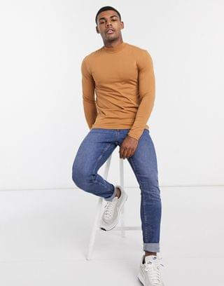 muscle fit long sleeve turtleneck t-shirt in brown