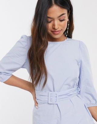 WOMEN New Look Petite belted poplin volume sleeve mini dress in light blue