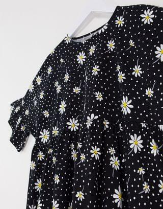 WOMEN mini smock dress with frill sleeve in black floral mix print