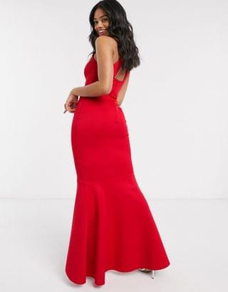 WOMEN Lipsy X Abbey Clancy halterneck ruffle maxi dress in red