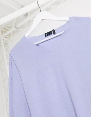 oversized long sleeve t-shirt with raw notch neck in blue