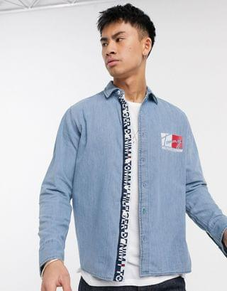 Tommy Hilfiger denim logo denim shirt in blue