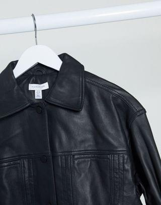 WOMEN Topshop Boutique leather jacket in black