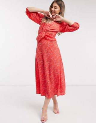 WOMEN twist front midi dress in pink and red polka dot