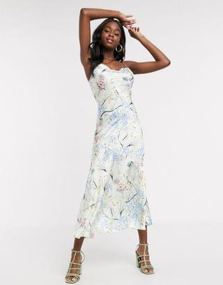 WOMEN Never Fully Dressed cowl front cami strap midi dress with ruffle hem in floral print
