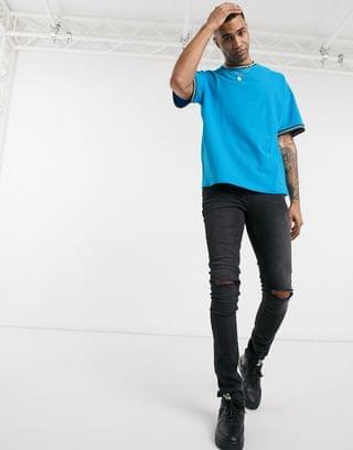 Tall oversized pique t-shirt with tipping in blue