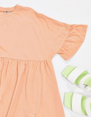WOMEN Maternity super oversized frill sleeve smock dress in peach